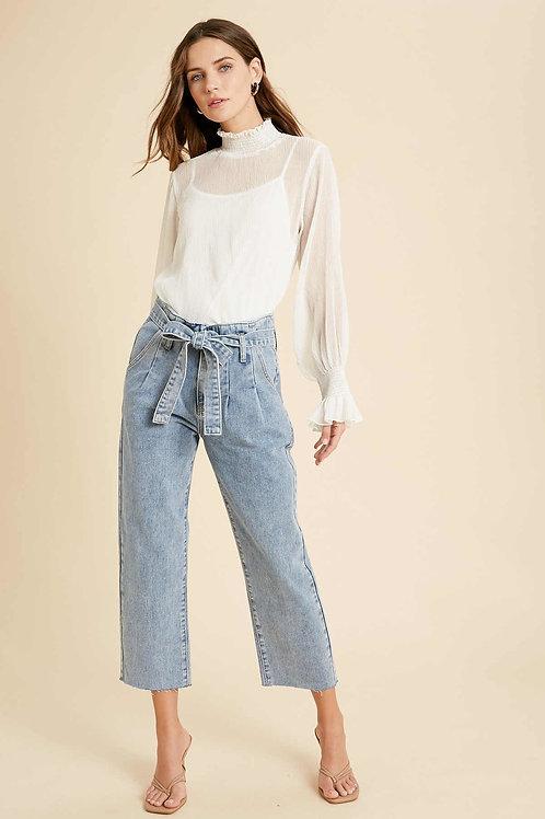 Denim Tie Waist Jeans