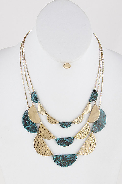 Hammered Gold + Patina Layered Necklace