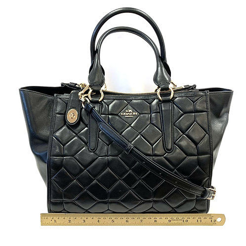 Black Quilted Leather Coach Handbag