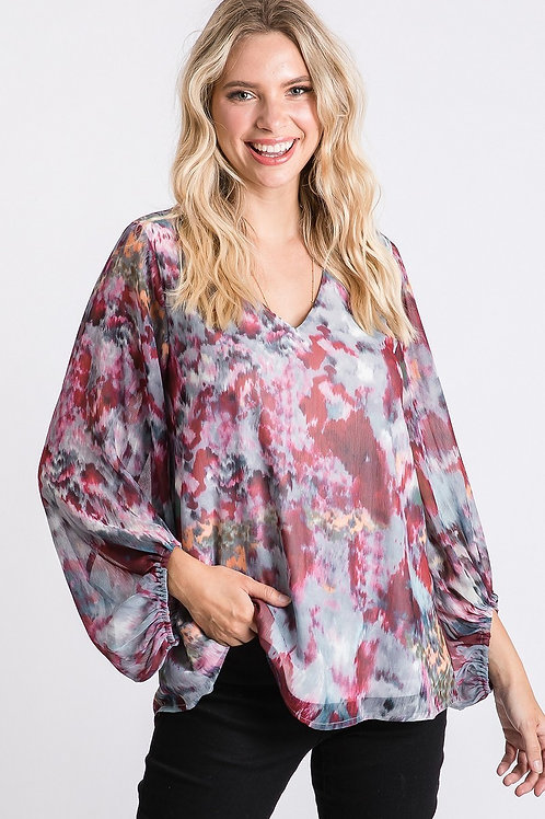 Red Chiffon Tie Dye Blouse