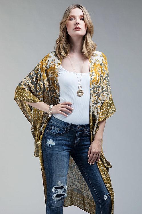 One Size Mustard Print Kimono