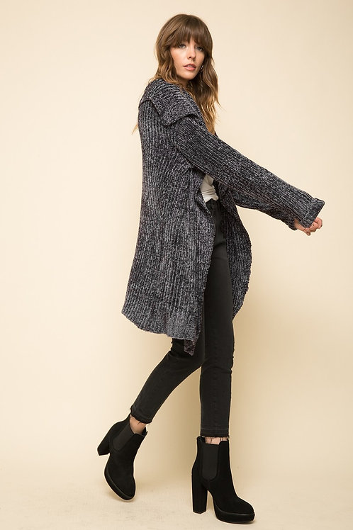 Charcoal Chenille Cardigan