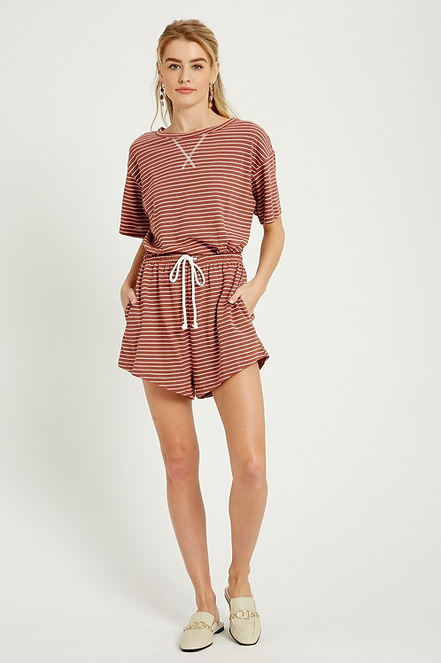 Brick Stripe Lounge Set (Top+Shorts)