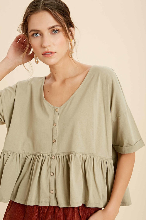 Olive Button Down Ruffle T