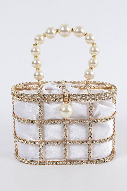 Rhinestone + Satin Evening Bag