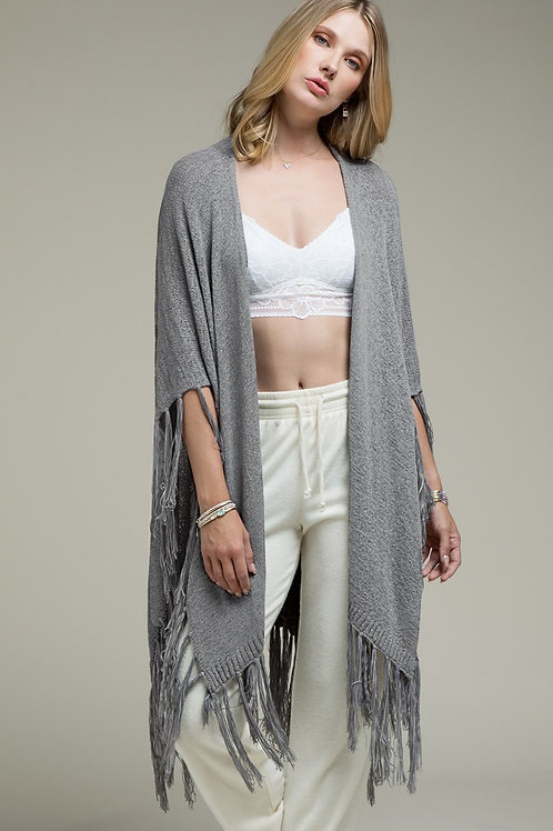 One Size Grey Knit with Fringe