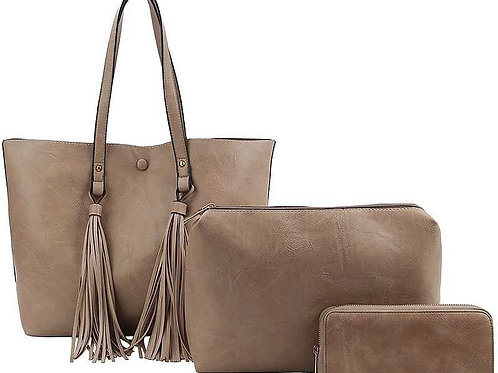 Mocha 3in1 Tote with Tassels