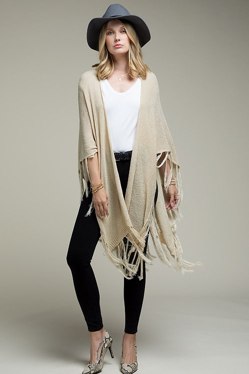 One Size Oatmeal Knit with Fringe