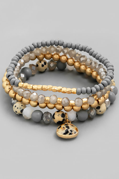 Grey & Gold Layered Bracelet