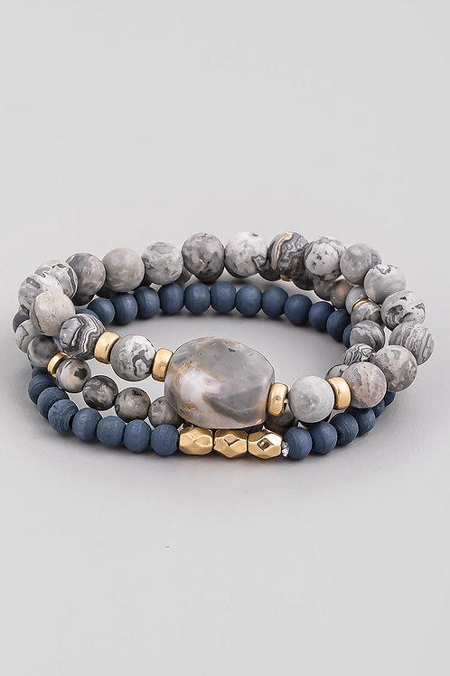Grey & Blue Beaded Bracelet