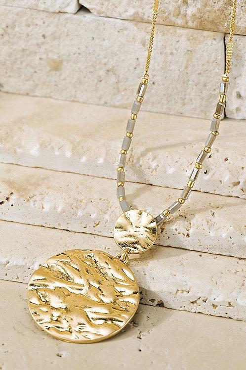 Grey Beaded Necklace w/ Pendant