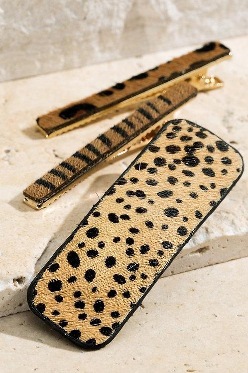 Tan Cheetah Leather Hair Pin Set