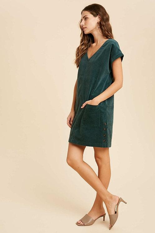 Teal Green Corduroy Dress