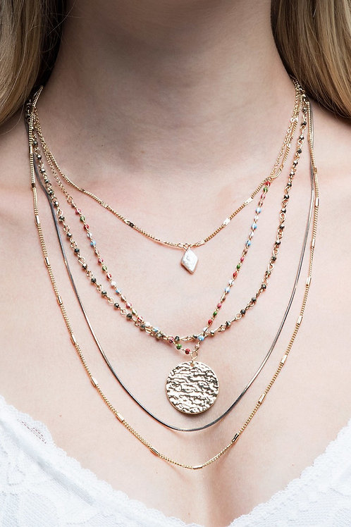 Layered Multi & Gold Necklace