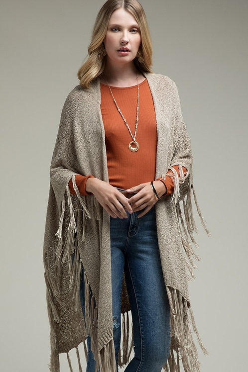 One Size Espresso Knit with Fringe