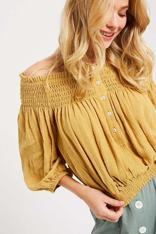 Mustard Cotton Off-the-shoulder Blouse