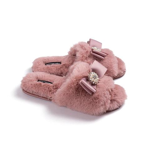 Mauve Faux Fur Slippers