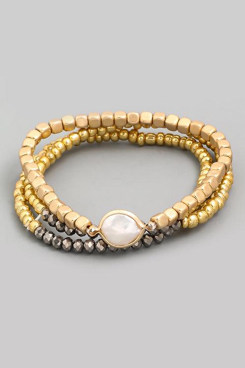 Pearl Disk Stretch Bracelet Set