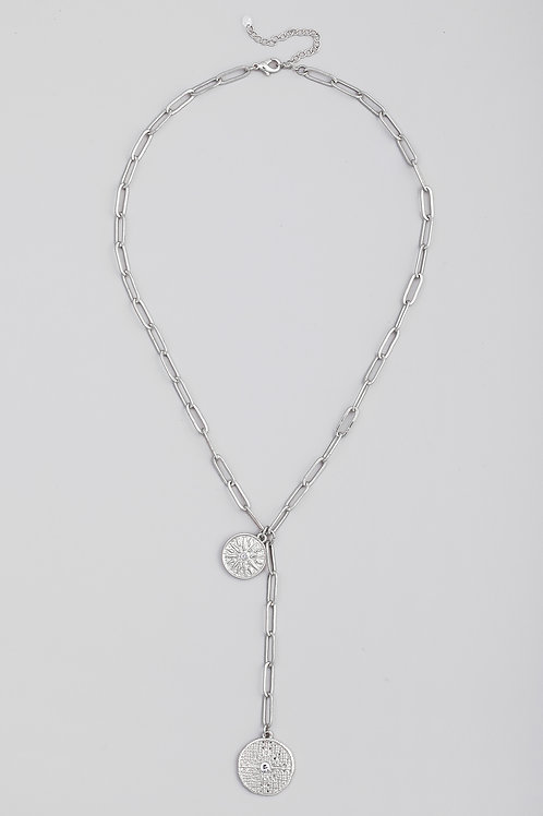 Silver Chain Link Coin Lariat Necklace