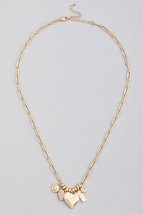 Gold Oval Chain Heart Love Charm Necklace