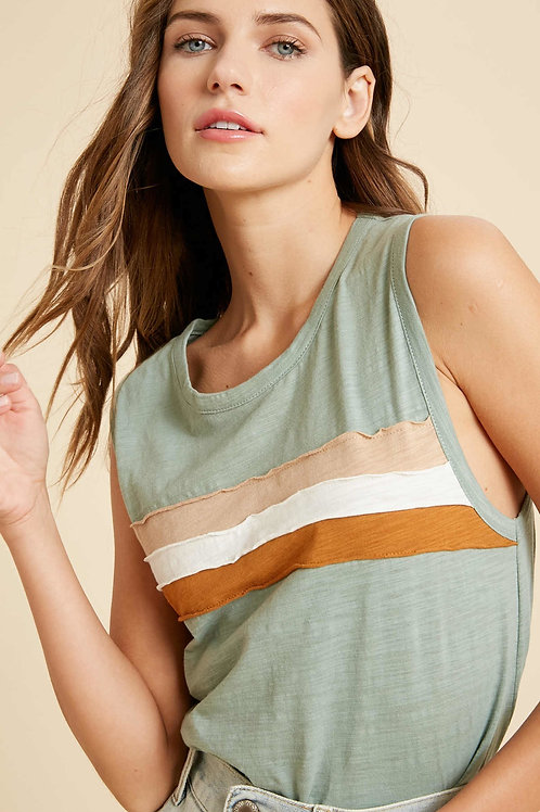 Dark Sage Stripe Tank