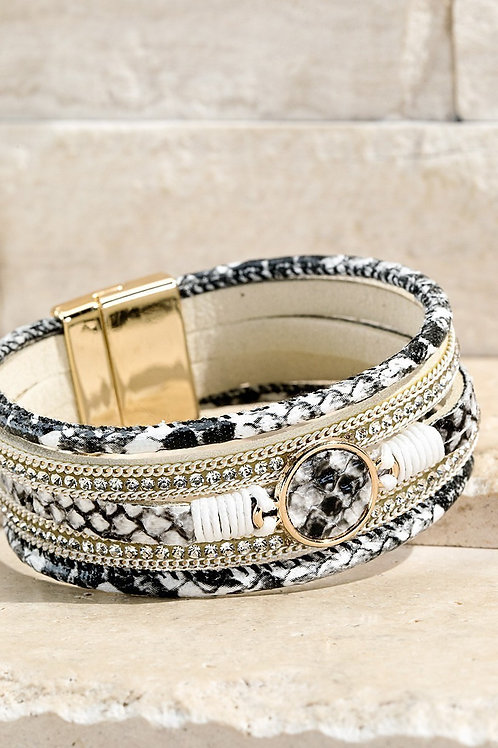 Black & White  Reptile Magnetic Bracelet