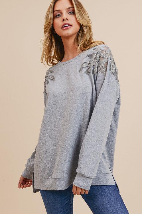 Heather Grey w/ Lace Top