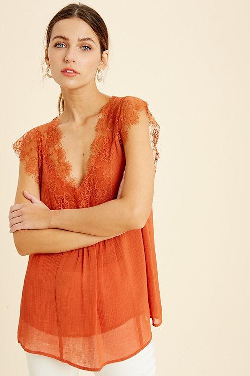 Burnt Orange Lace Sleeveless Blouse