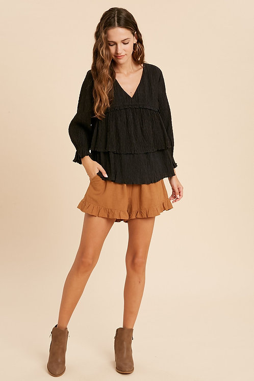 Black Crinkled Tiered Blouse