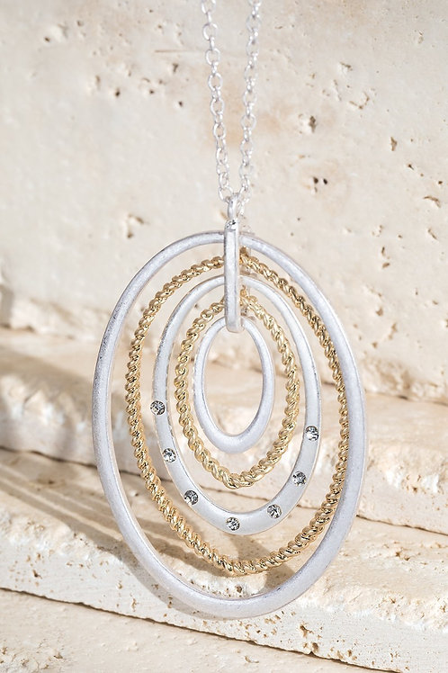 Silver & Gold Oval Pendant Necklace