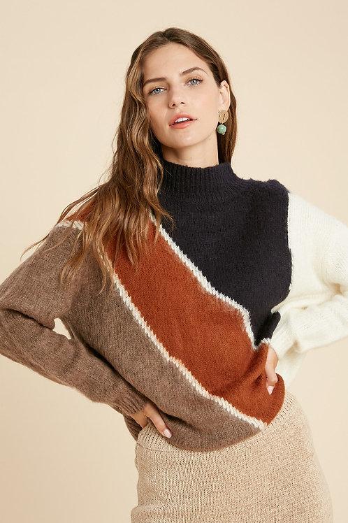 Navy/Rust Mock Neck Sweater
