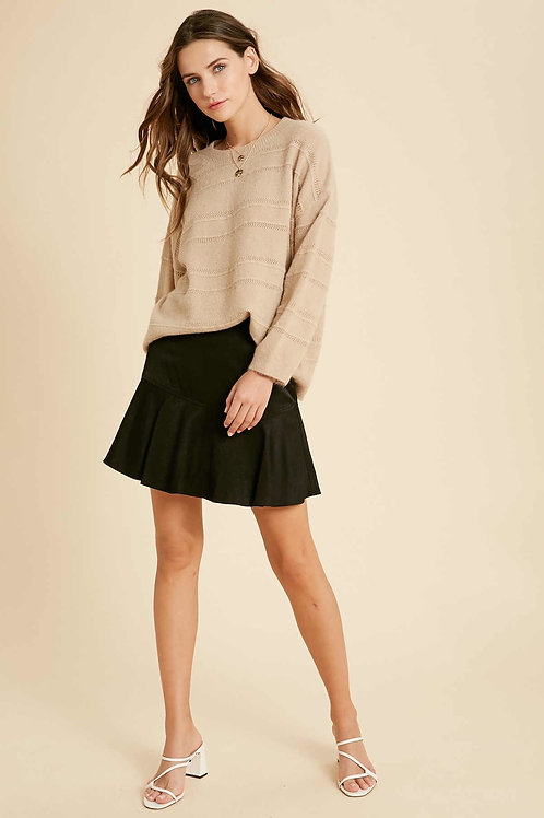 Taupe Mohair Pullover Sweater