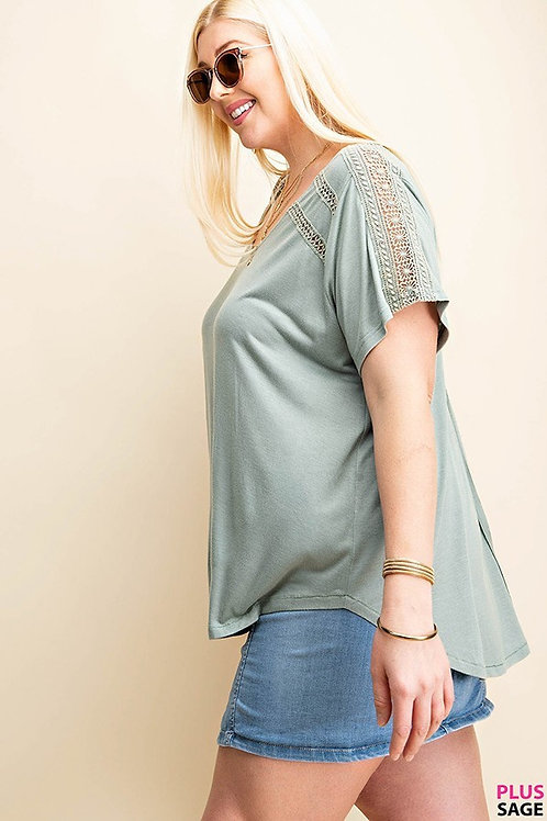 PLUS // Sage Lace T-Shirt