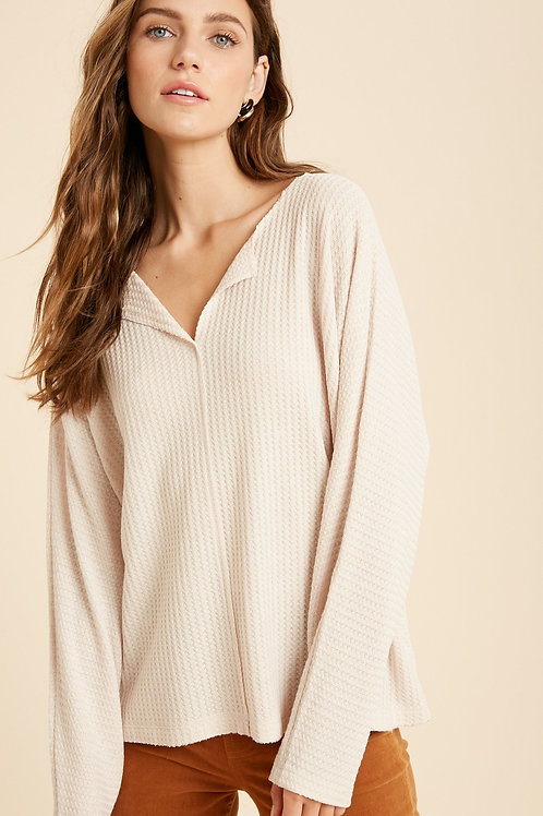 Sand Waffle Knit Top