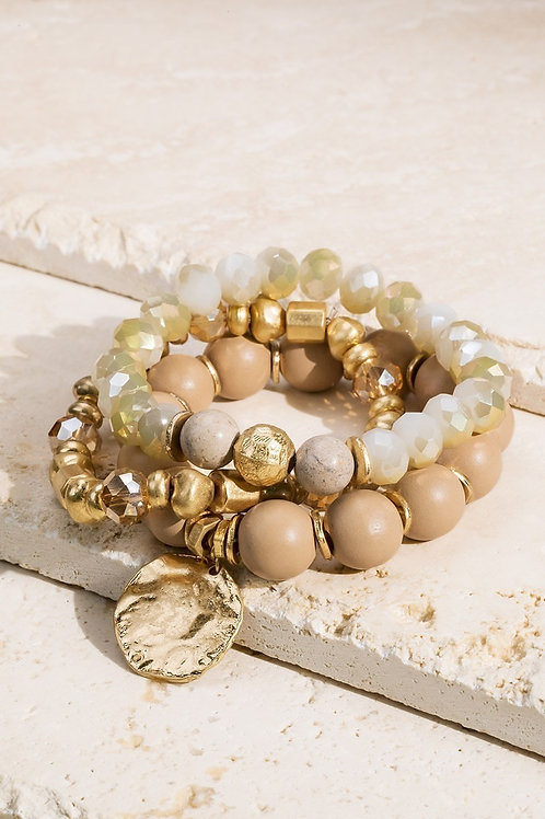 Nude & Gold Beaded Bracelet
