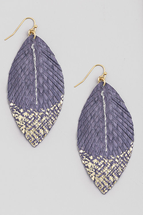 Blue Faux Leather Feather Earrings