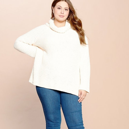 PLUS // Cream Cowl Neck Cozy Sweater