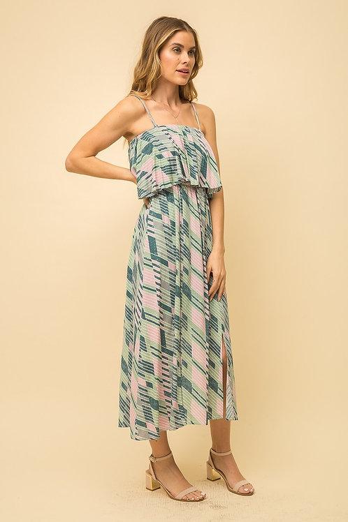 Teal Print Pleated Dress