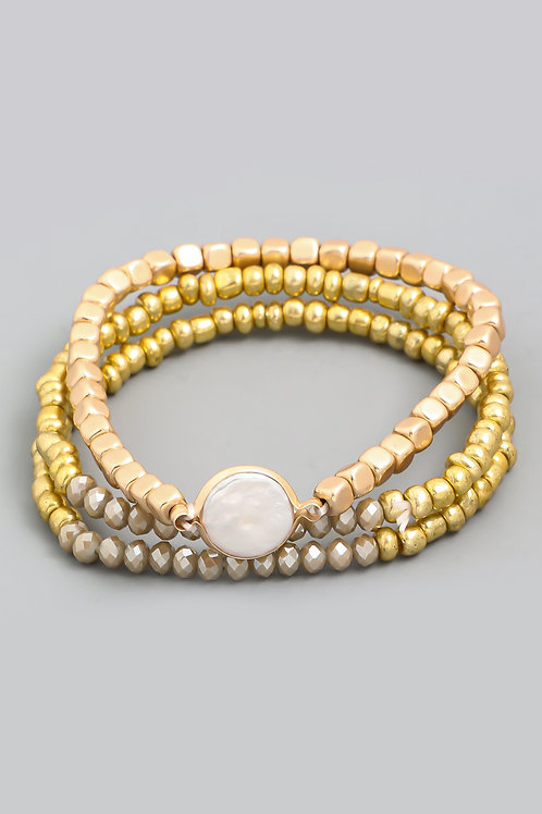 Pearl Disk Stretch Bracelet Set