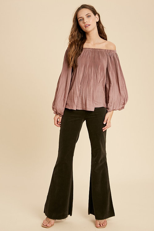 Mauve Pleated Blouse