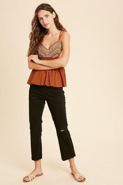 Black Raw Hem Jeans