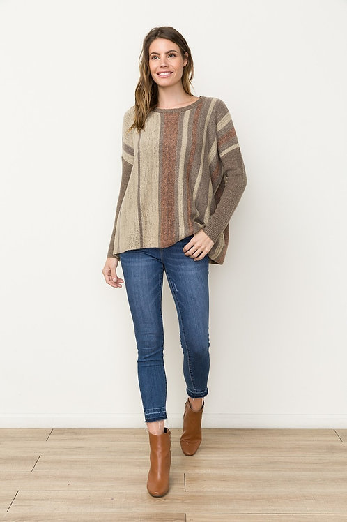 Taupe/Orange Stripe Sweater