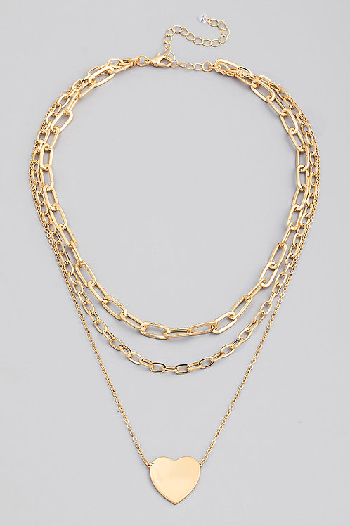 Gold Layered Chain Heart Pendant Necklace