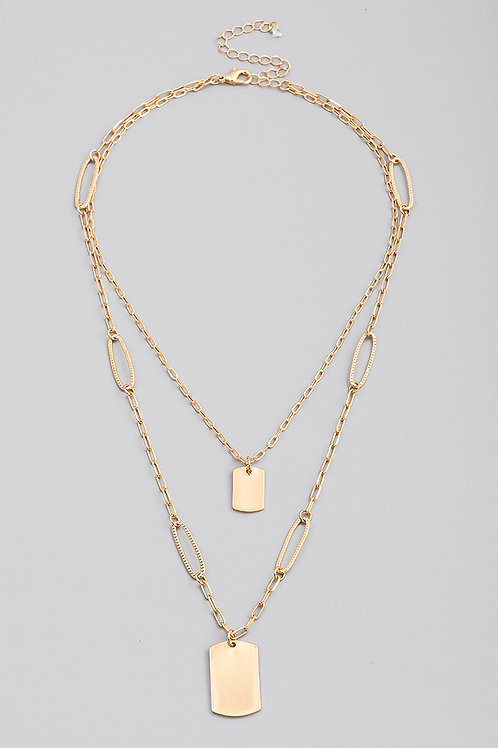 Gold Layered Rectangle Tag Pendant Necklace