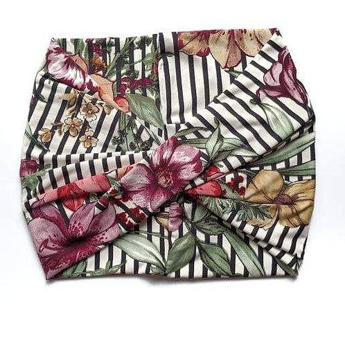 Floral + Stripe Wide Headband