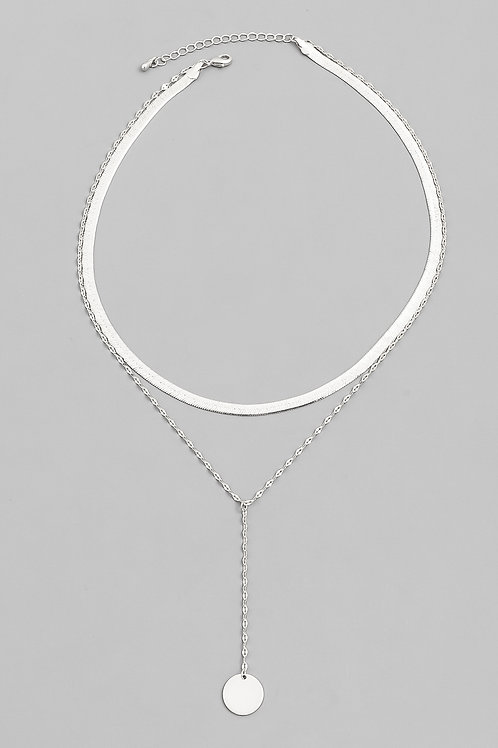 Layered Disc Herringbone Choker