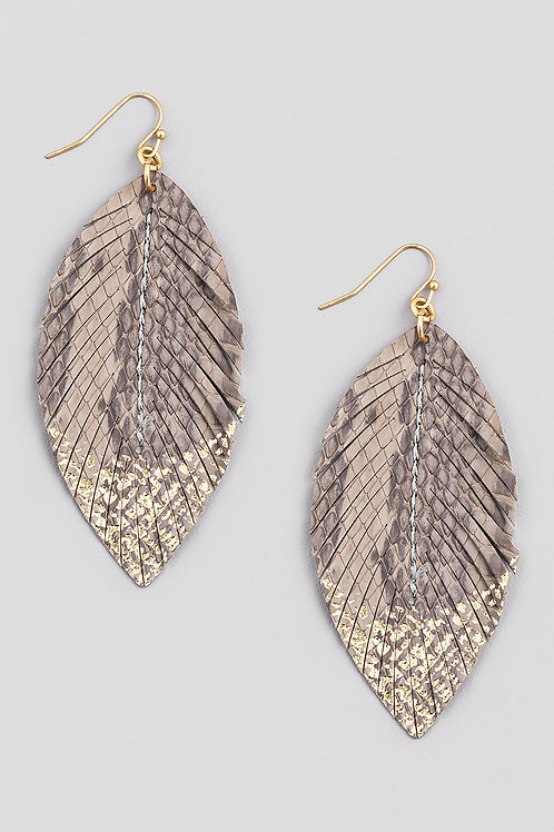 Reptile Faux Leather Feather Earrings