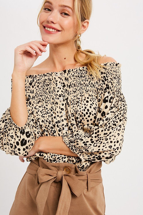 Cheetah Off-the-shoulder Blouse