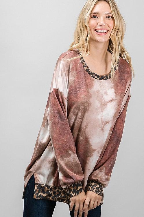 Mauve Tie Dye & Animal Print Top