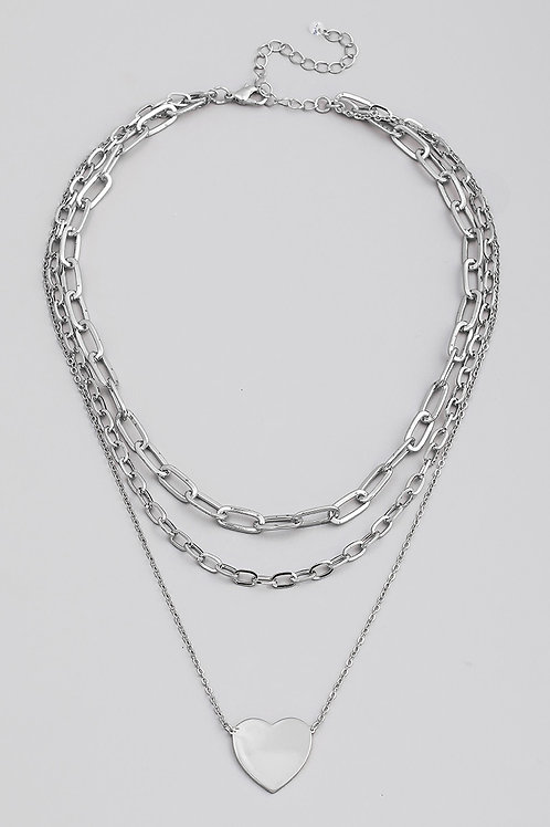 Silver Layered Chain Heart Pendant Necklace